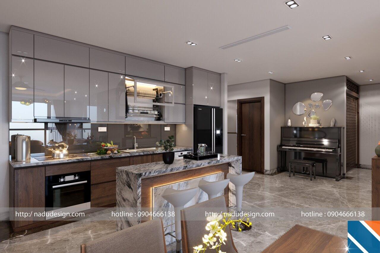 Thiết kế nội thất phòng bếp với đá nhân tạo