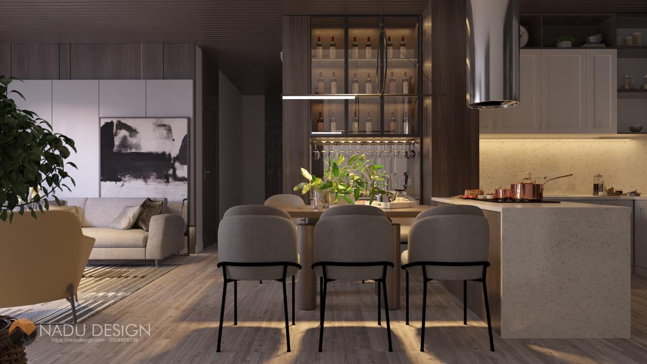 phòng bếp phòng khách chung cư