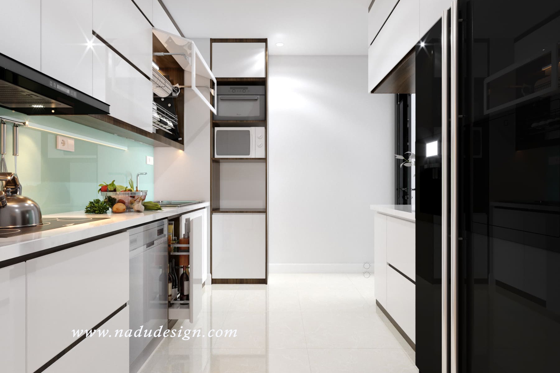 thiết kế nội thất nhà bếp đẹp nhờ gỗ óc chó