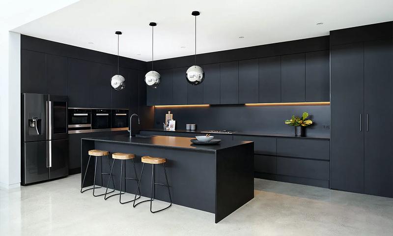 phòng bếp đen trắng