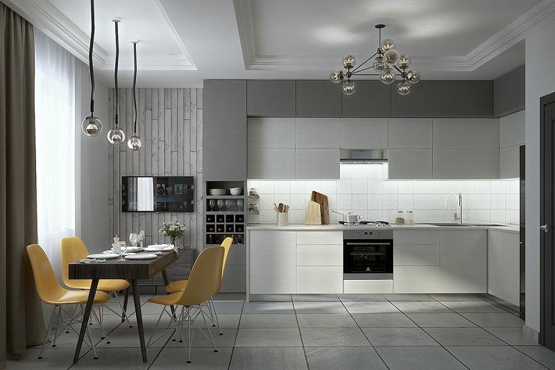 phòng bếp màu trung tính