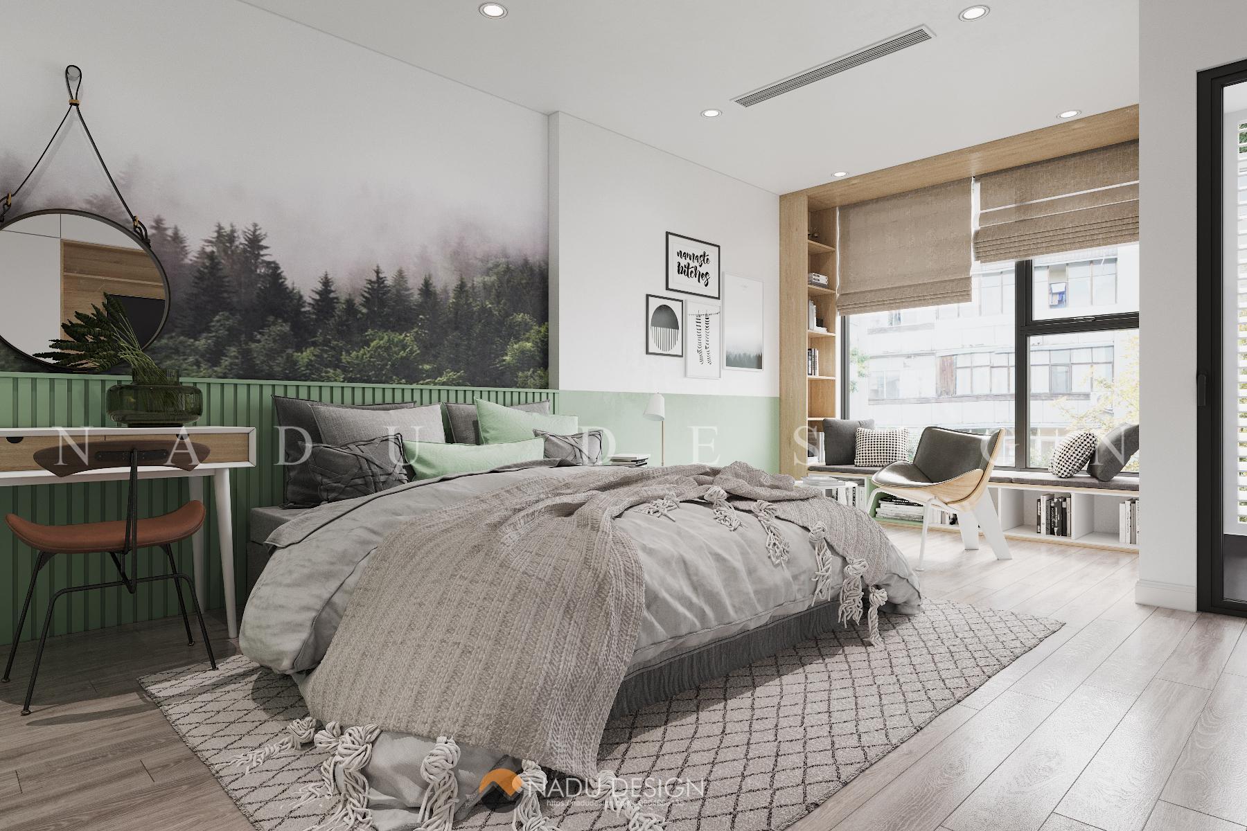 Mẫu thiết kế nội thất phòng ngủ 15m vuông đẹp sang trọng