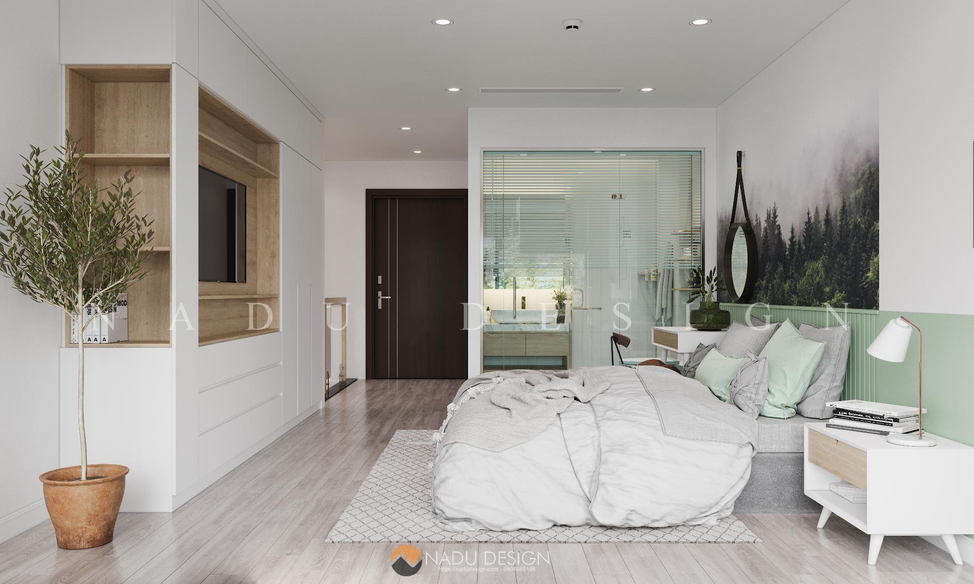 Mẫu thiết kế nội thất phòng ngủ 15m vuông đẹp đơn giản