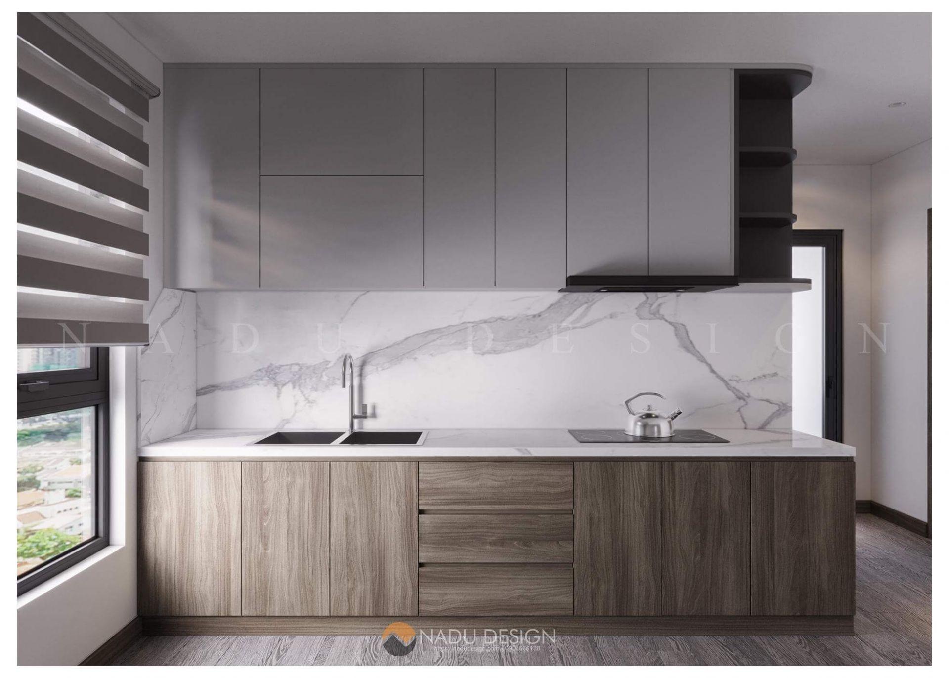 thiết kế bếp chung cư 70m2