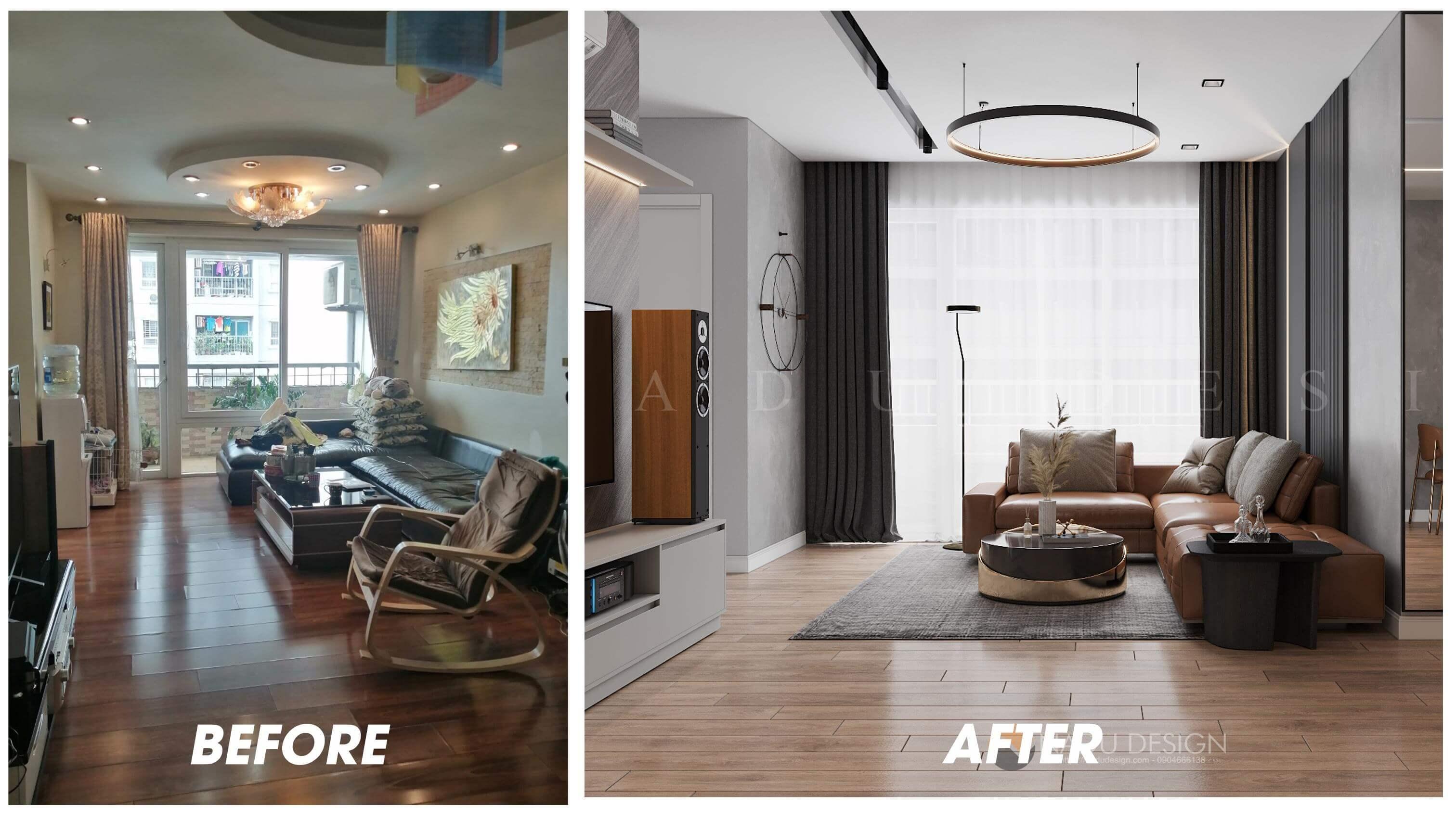 Thiết kế cải tạo nội thất phòng khách chung cư 96 Định Công