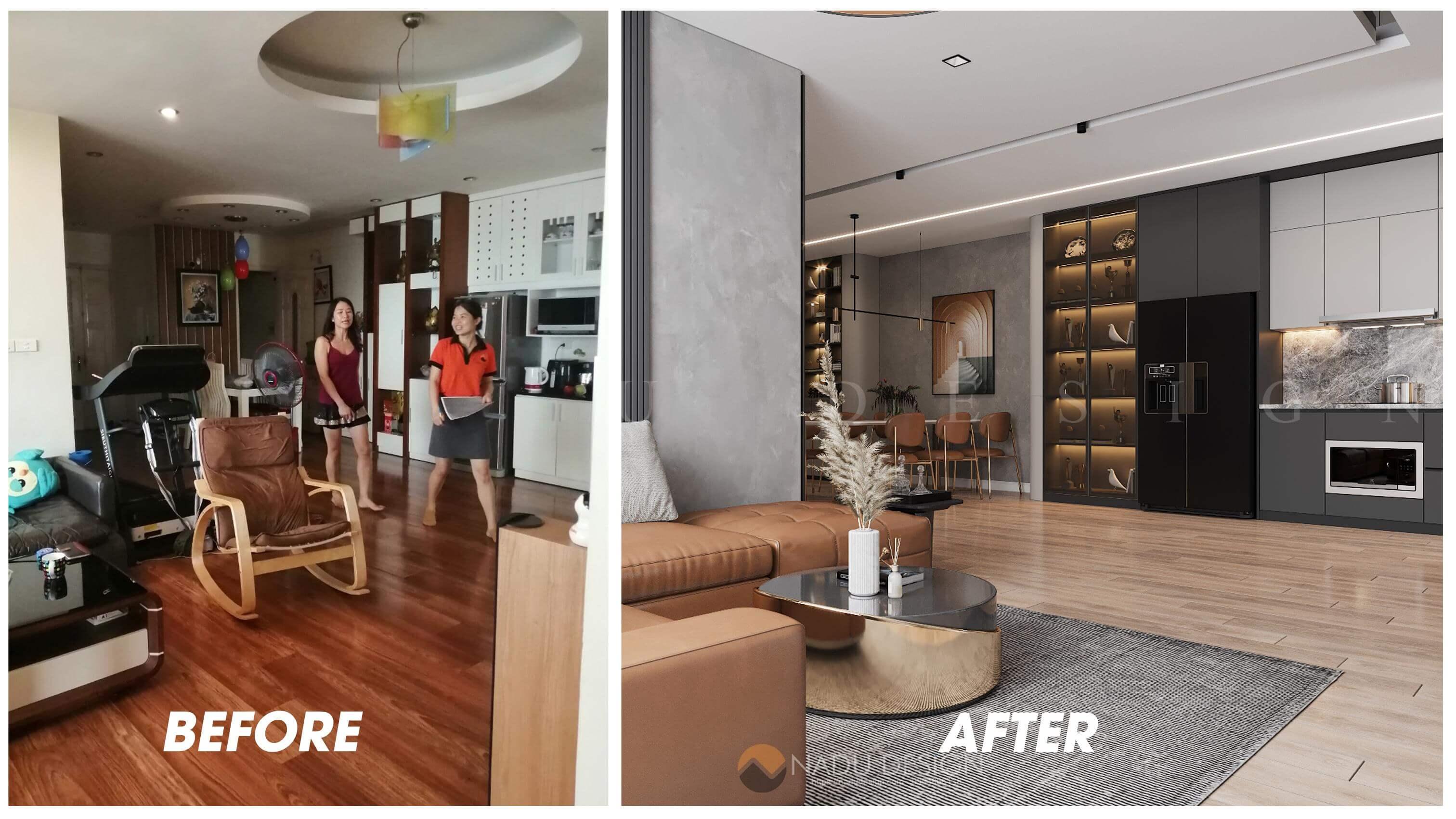 Thiết kế cải tạo nội thất phòng khách