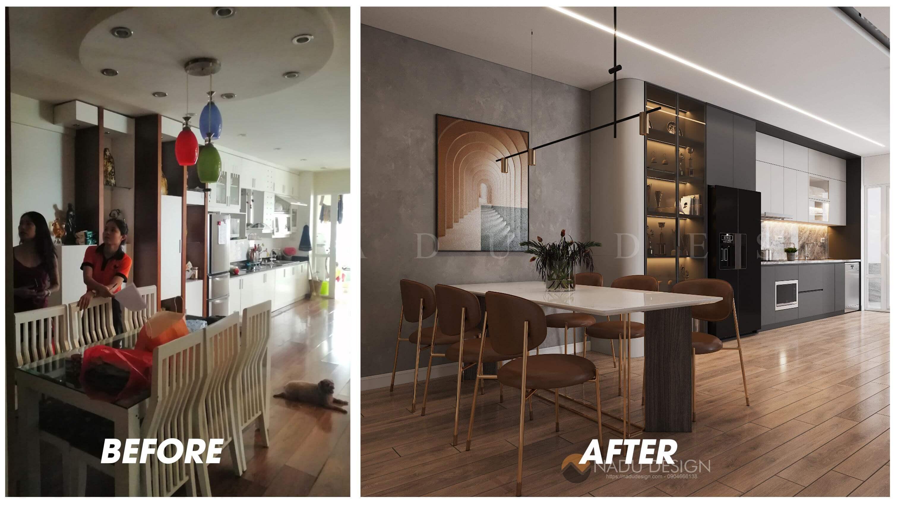Thiết kế cải tạo nội thất phòng bếp chung cư 96 Định Công