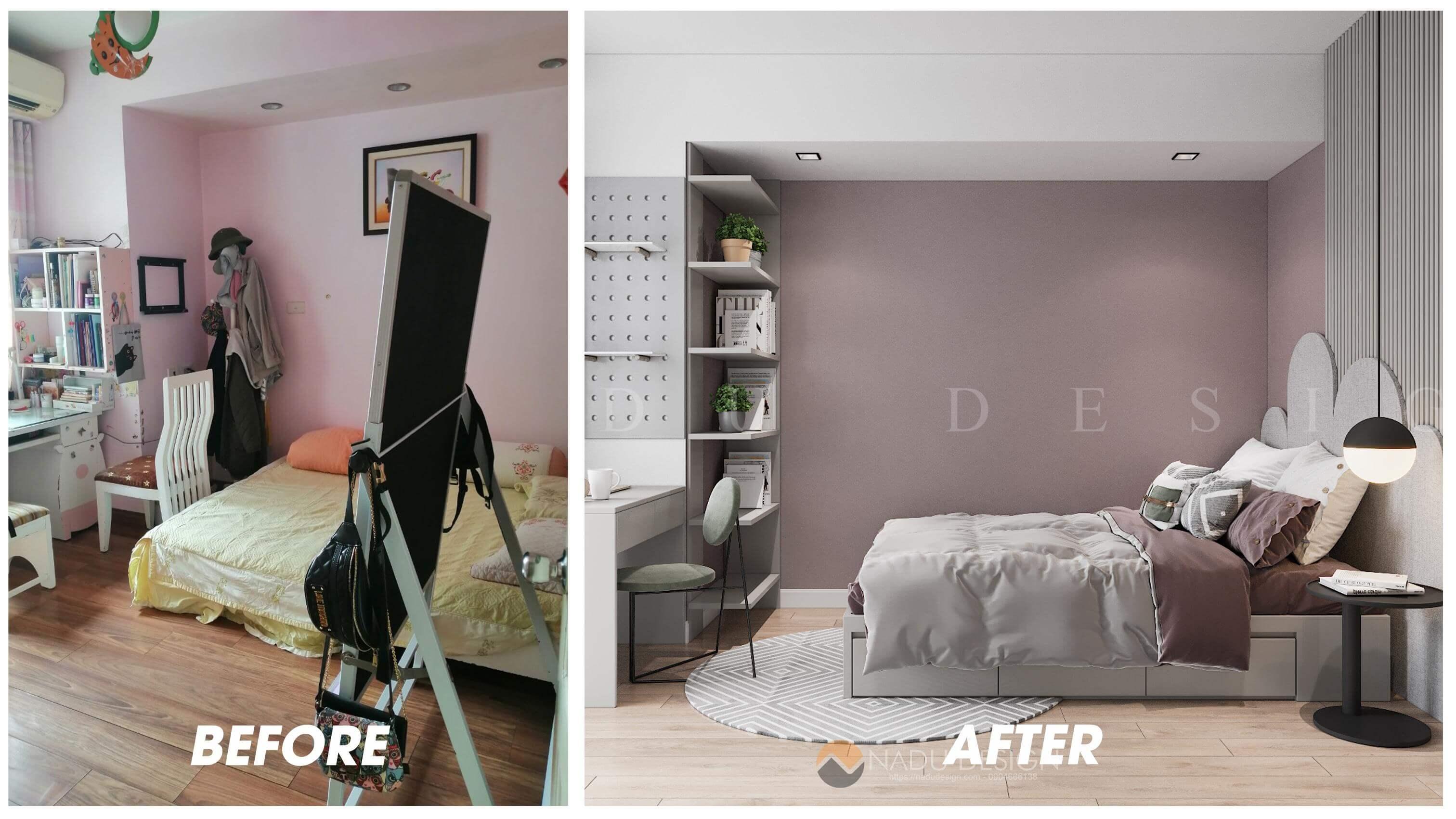 Thiết kế cải tạo nội thất phòng ngủ bé gái