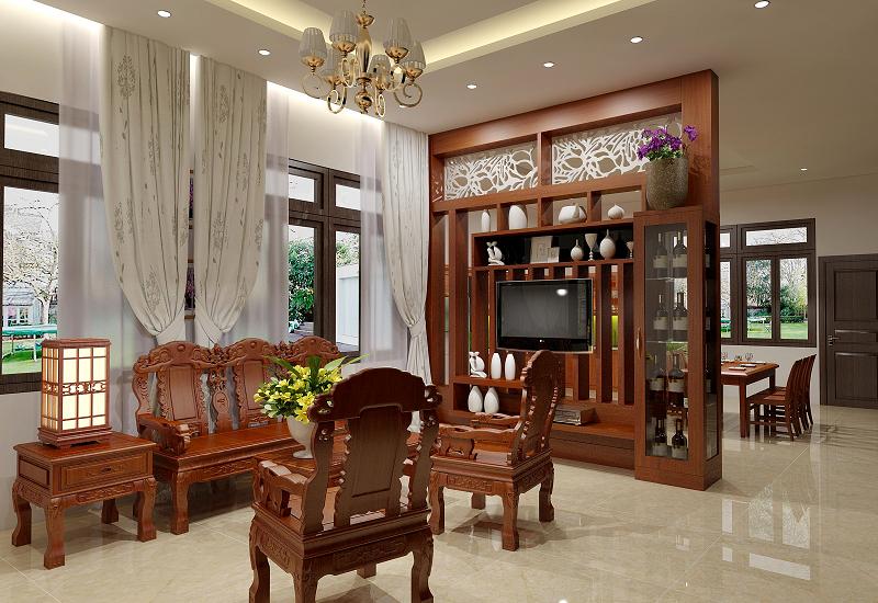 Nhà phố nội thất tân cổ điển gỗ tự nhiên