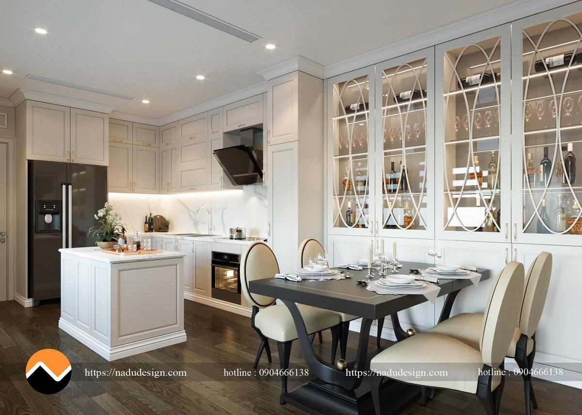 Phòng bếp chung cư phong cách tân cổ điển