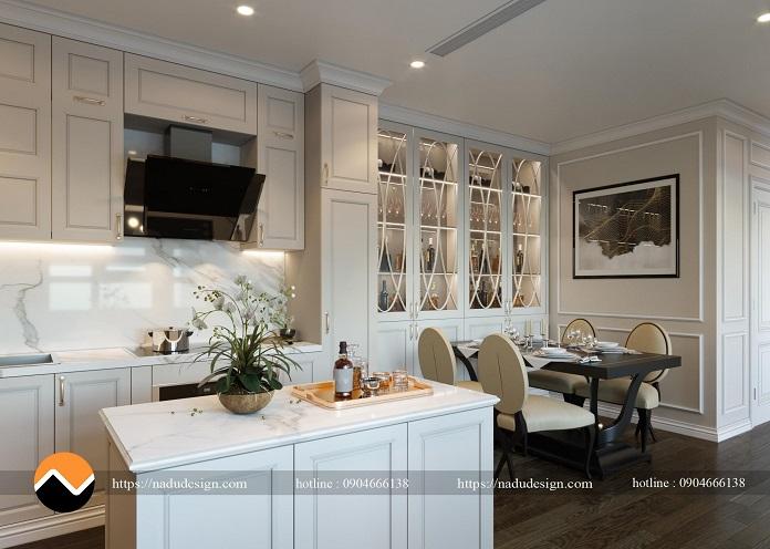 Thi công phòng bếp chung cư phong cách tân cổ điển