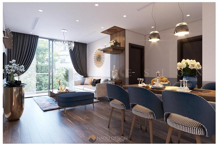 Thiết kế nội thất chung cư 100m2 2 phòng ngủ hiện đại