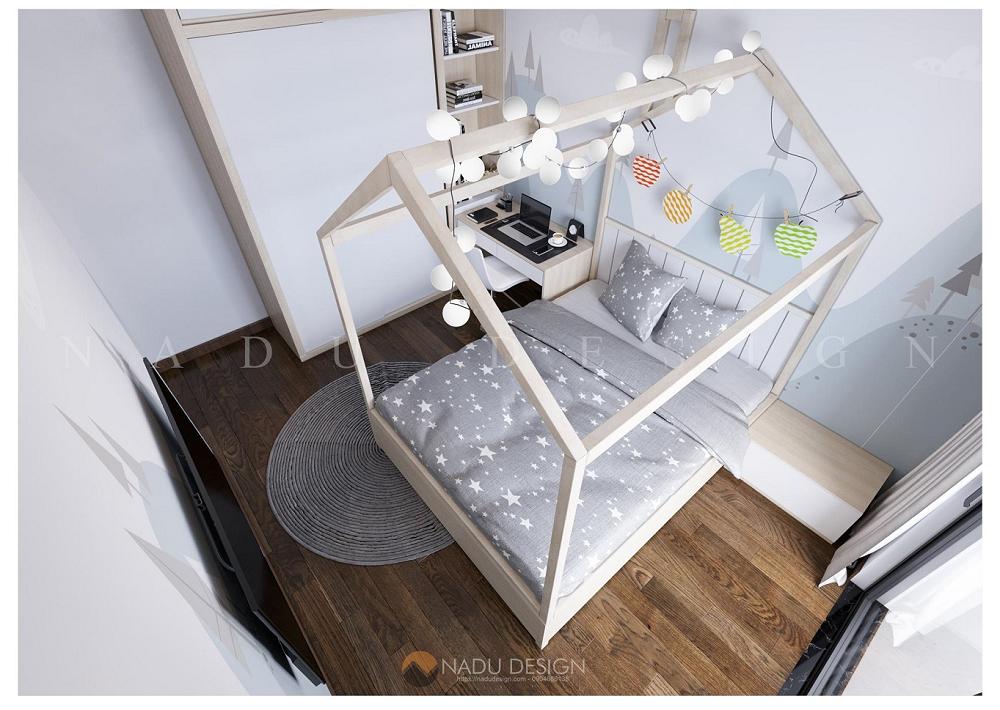 Thiết kế nội thất chung cư 70m2, phòng ngủ nhỏ