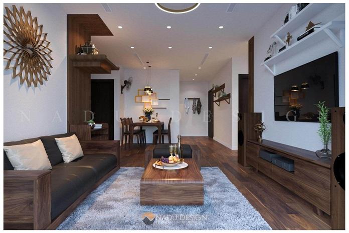 Thiết kế nội thất chung cư 3 phòng ngủ gỗ óc chó đẹp