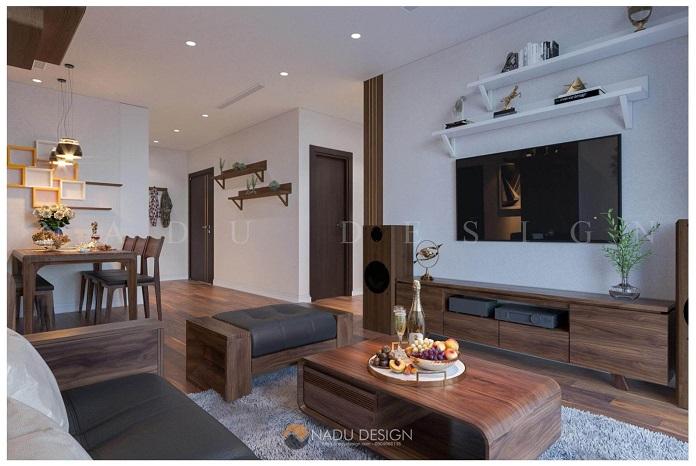 Thiết kế nội thất chung cư 3 phòng ngủ gỗ óc chó