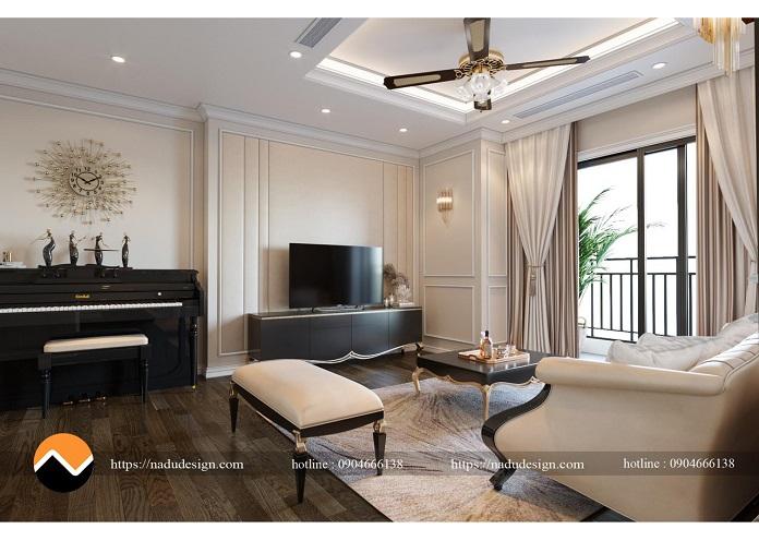 Thiết kế nội thất chung cư 3 phòng ngủ phong cách tân cổ điển