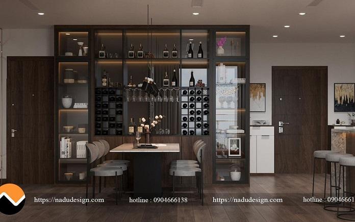 Phòng khách kết hợp phòng ăn trong thiết kế nội thất chung cư Vinhom WestPoint