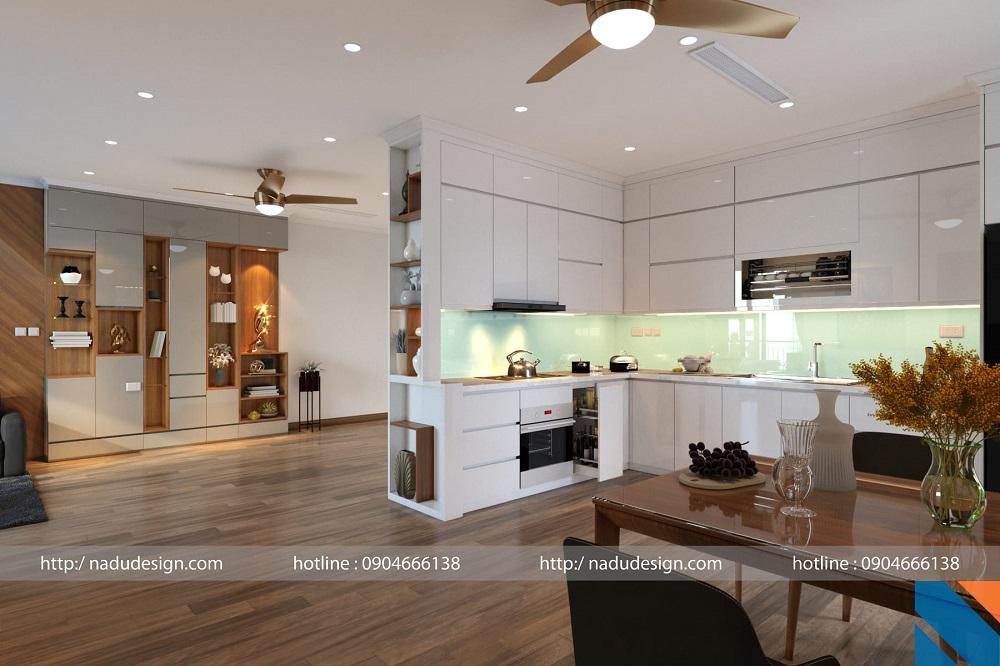 Thiết kế nội thất phòng bếp điểm sắc xanh thanh mát