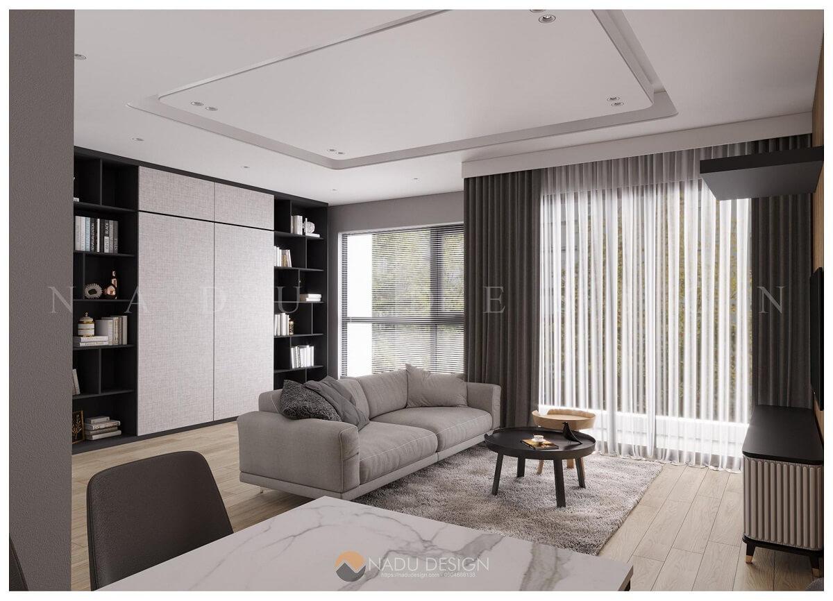 Thiết kế nội thất phòng khách chung cư đẹp tối giản