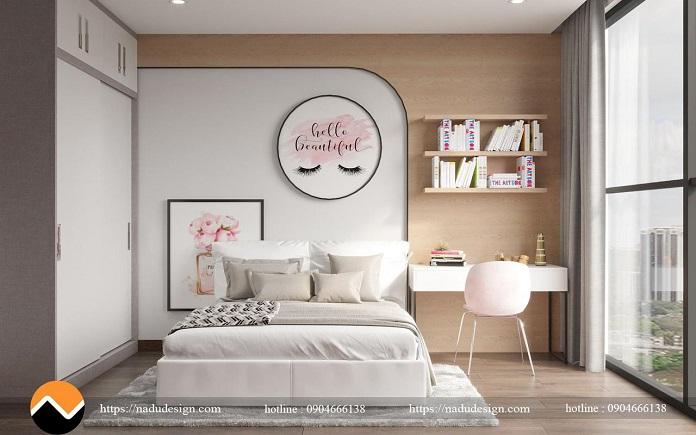 Phòng ngủ kết hợp bàn làm việc trong thiết kế nội thất chung cư Vinhome Westpoint