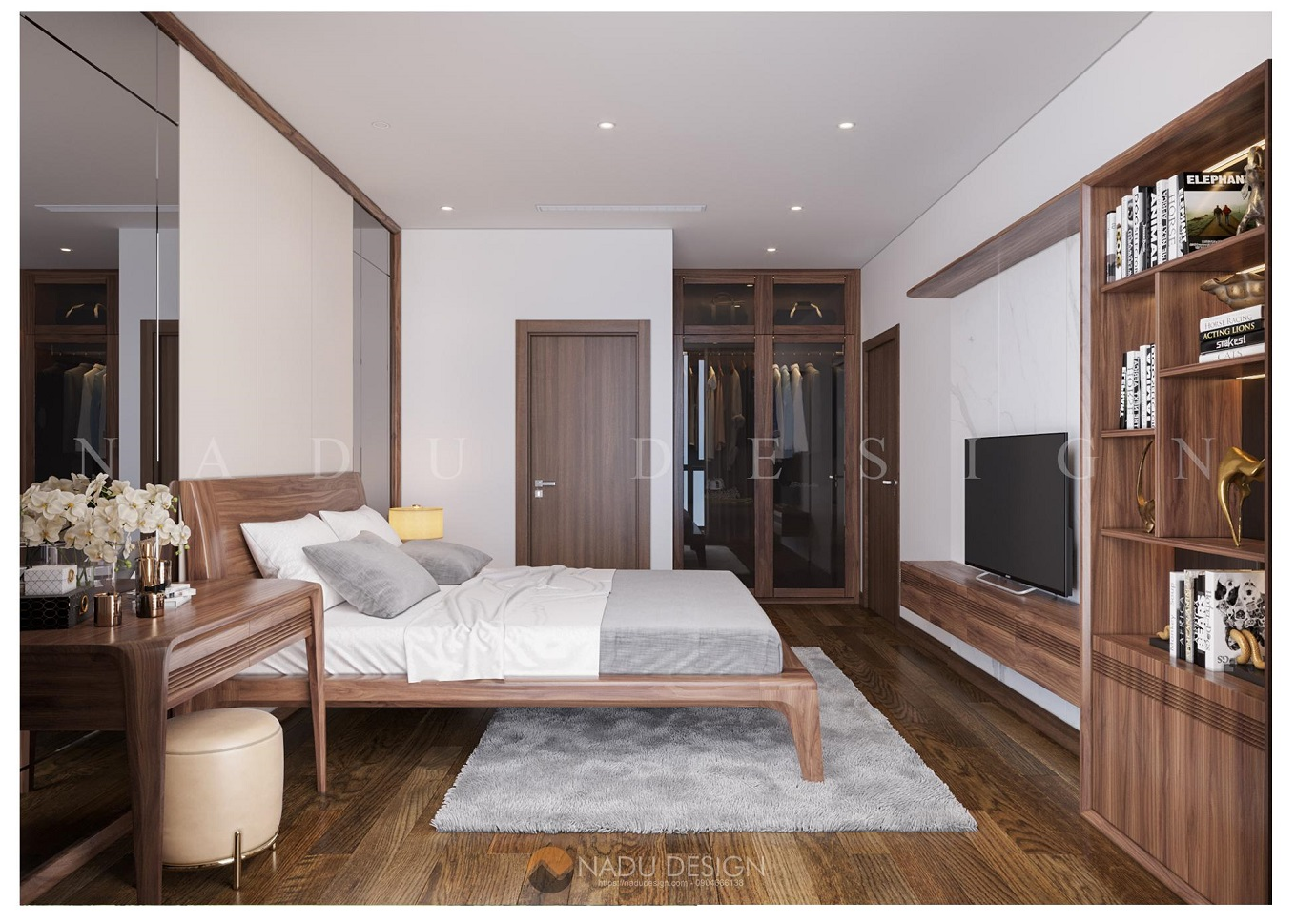 Thiết kế nội thất phòng ngủ chung cư gỗ óc chó đẹp
