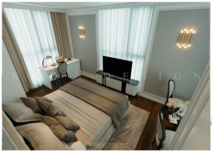 Thiết kế nội thất phòng ngủ nhỏ chung cư 120m2