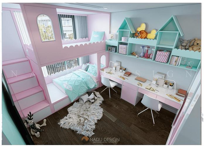 Thiết kế nội thất phòng ngủ trẻ em chung cư 120m2