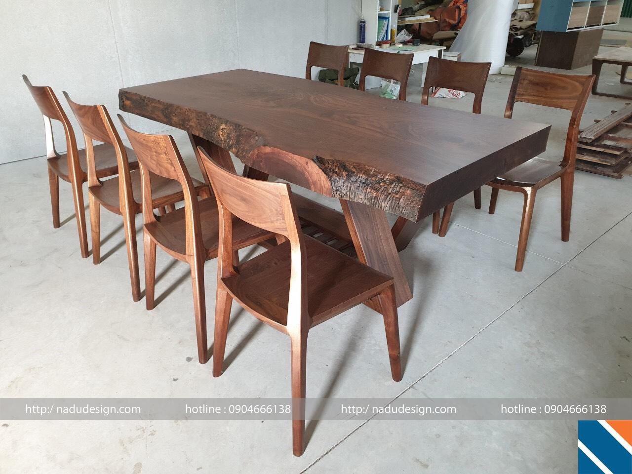 Bộ bàn ghế ăn gỗ óc chó NaDu 8 ghế