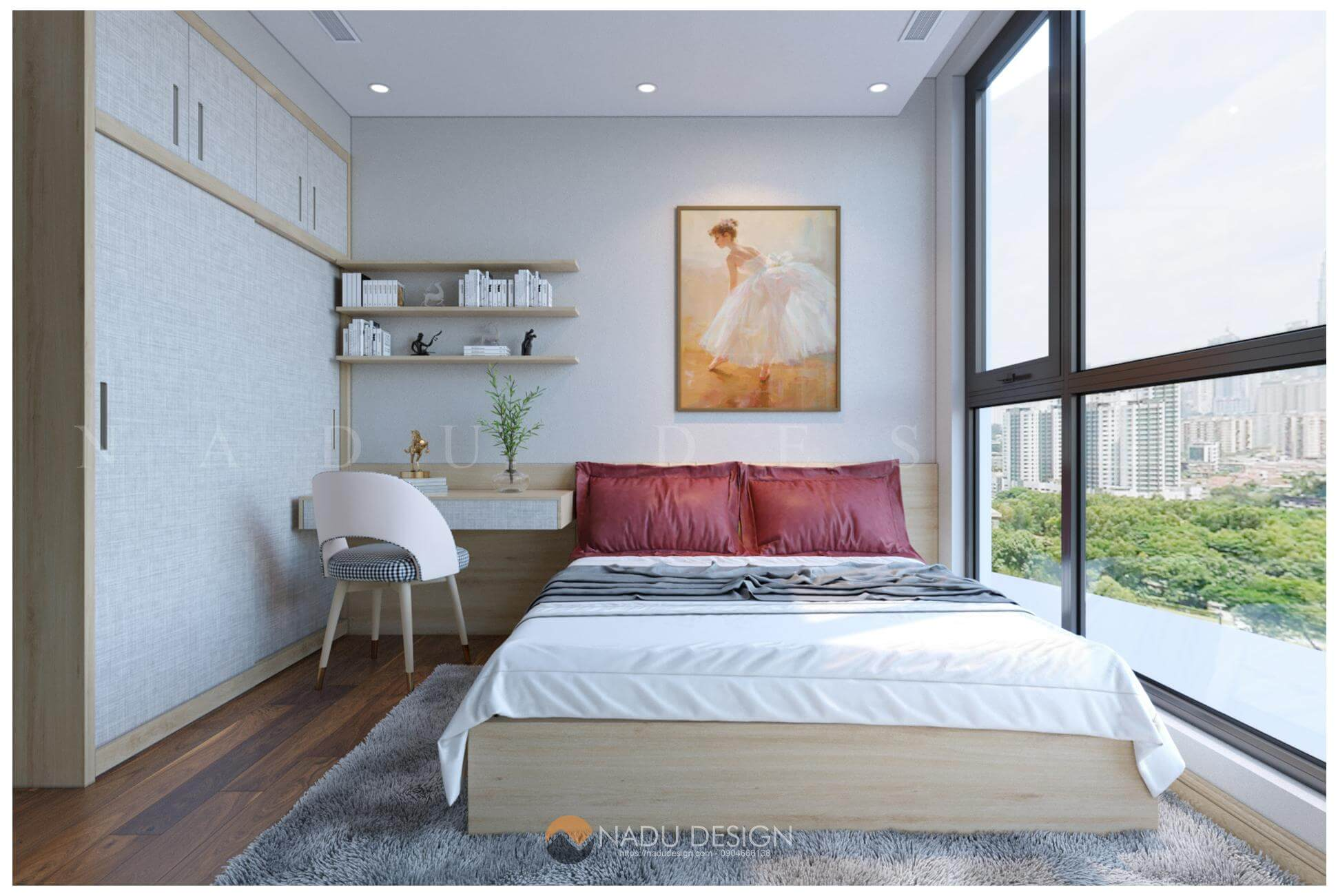thiết kế nội thất căn hộ Vinhomes West Point nhà chị Huệ phòng ngủ master 10