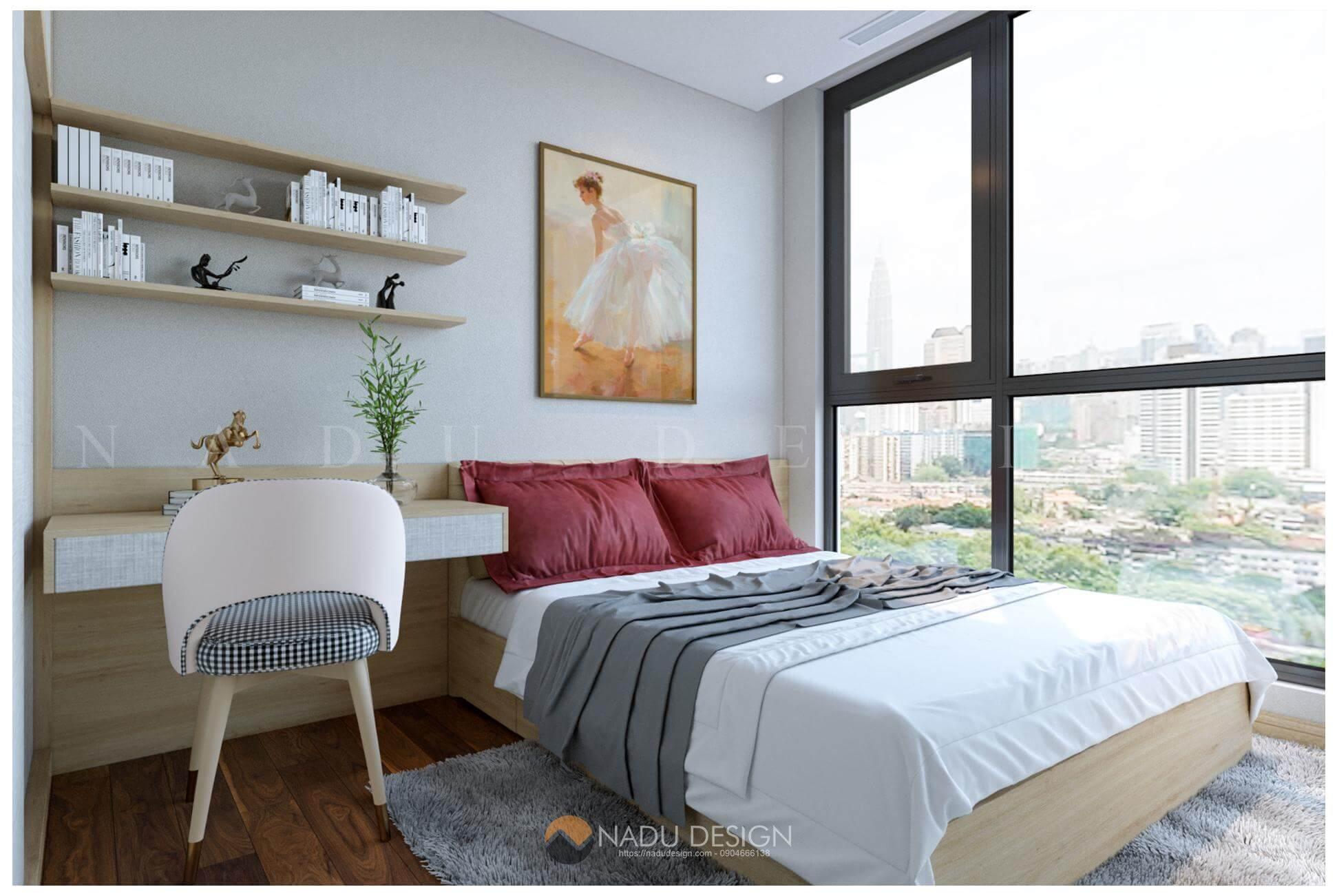 thiết kế nội thất căn hộ Vinhomes West Point nhà chị Huệ phòng ngủ 11