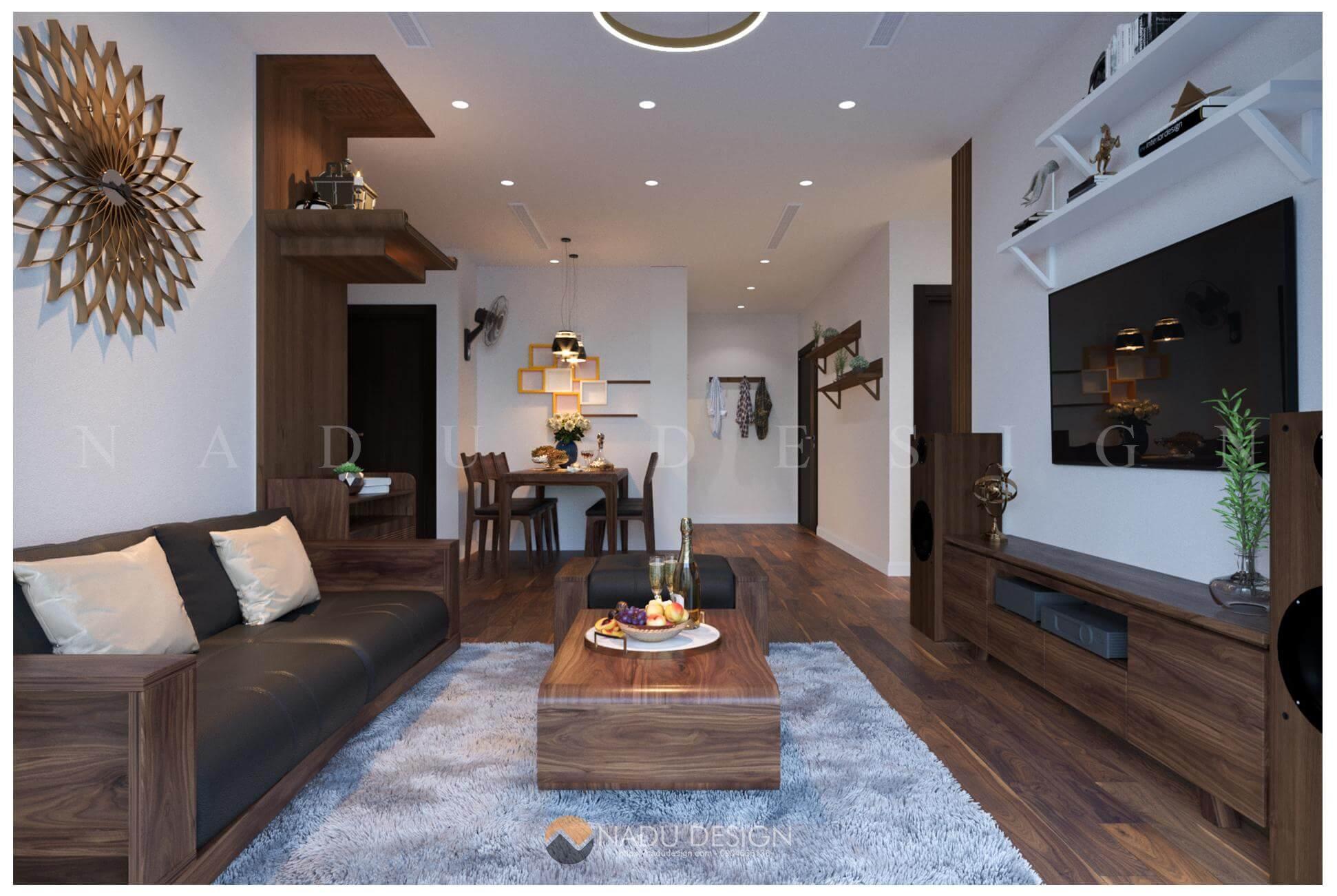 thiết kế nội thất căn hộ Vinhomes West Point nhà chị Huệ phòng khách 4