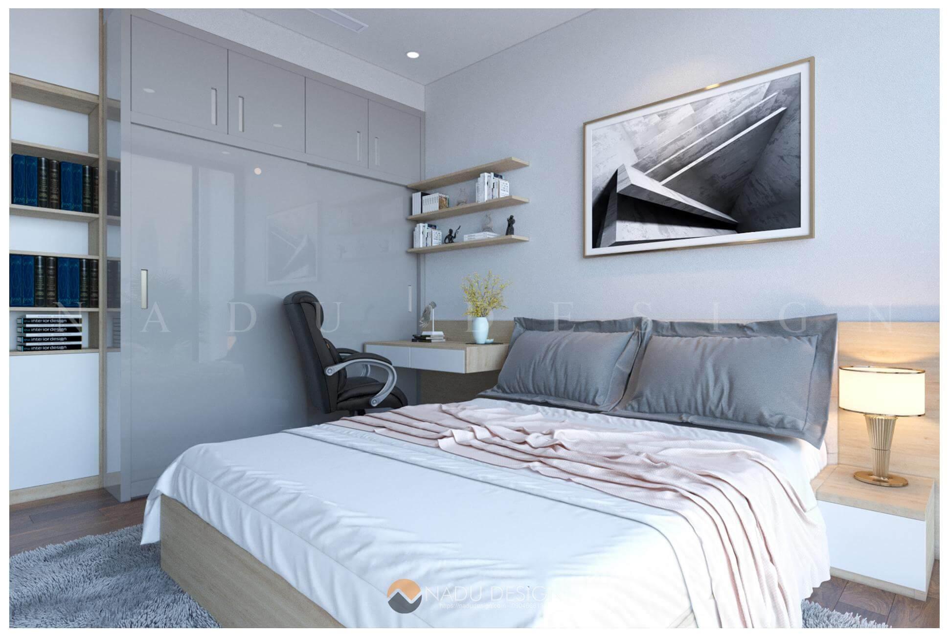 thiết kế nội thất căn hộ Vinhomes West Point nhà chị Huệ phòng ngủ master 6