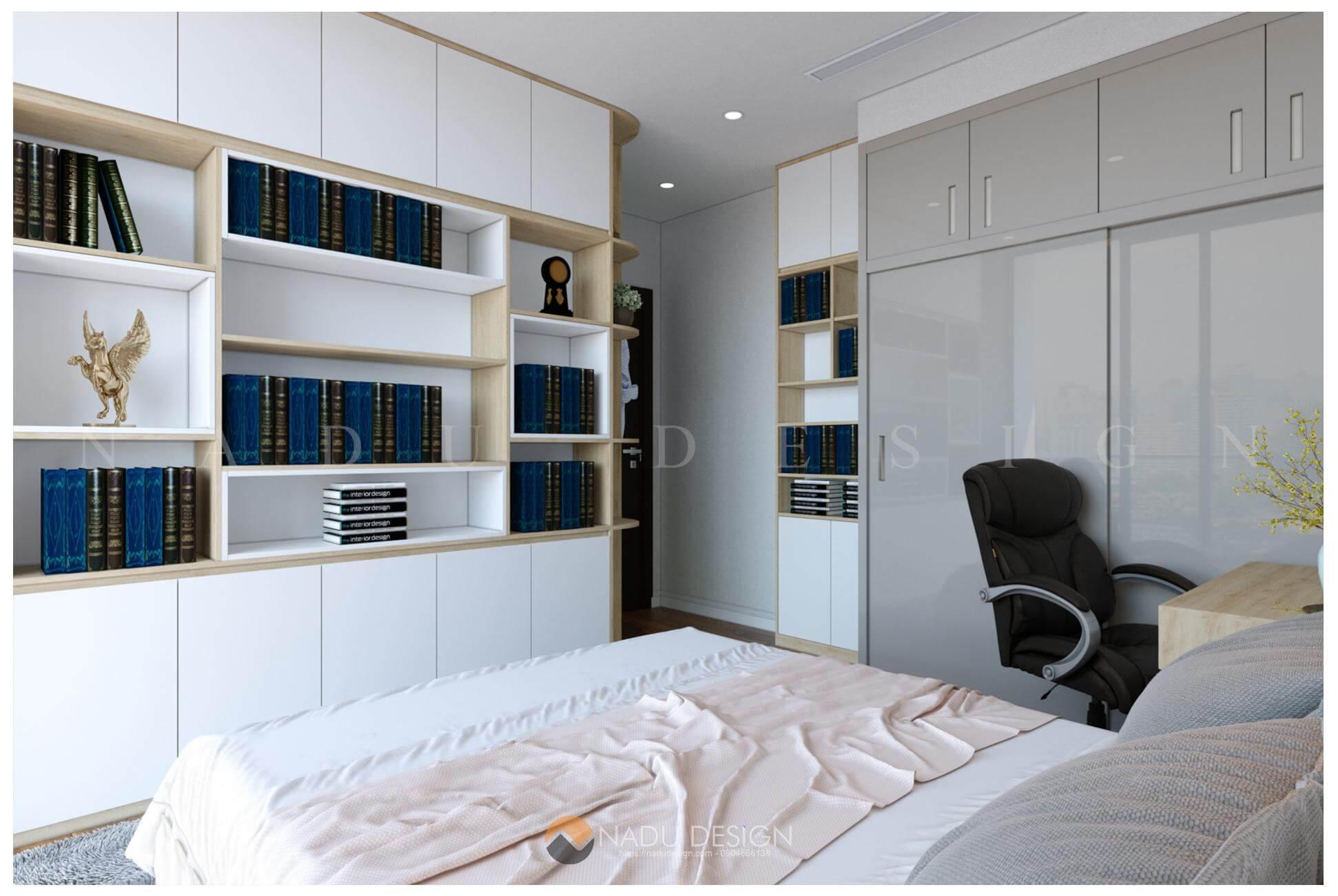 thiết kế nội thất căn hộ Vinhomes West Point nhà chị Huệ phòng ngủ master 8
