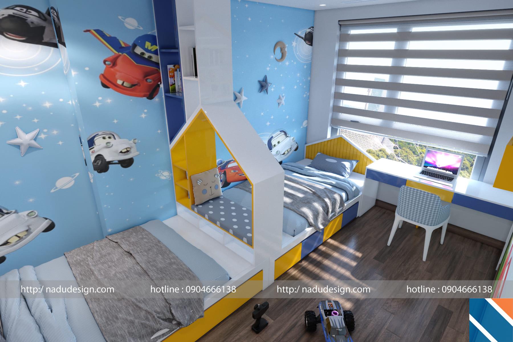 Họa tiết giấy dán tường phòng ngủ bé trai