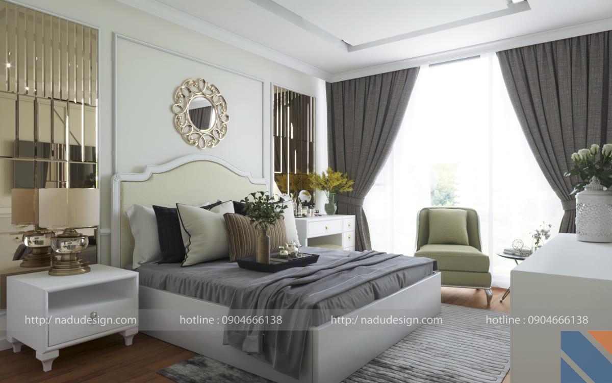 Mẫu thiết kế nội thất phòng ngủ tân cổ điển đẹp