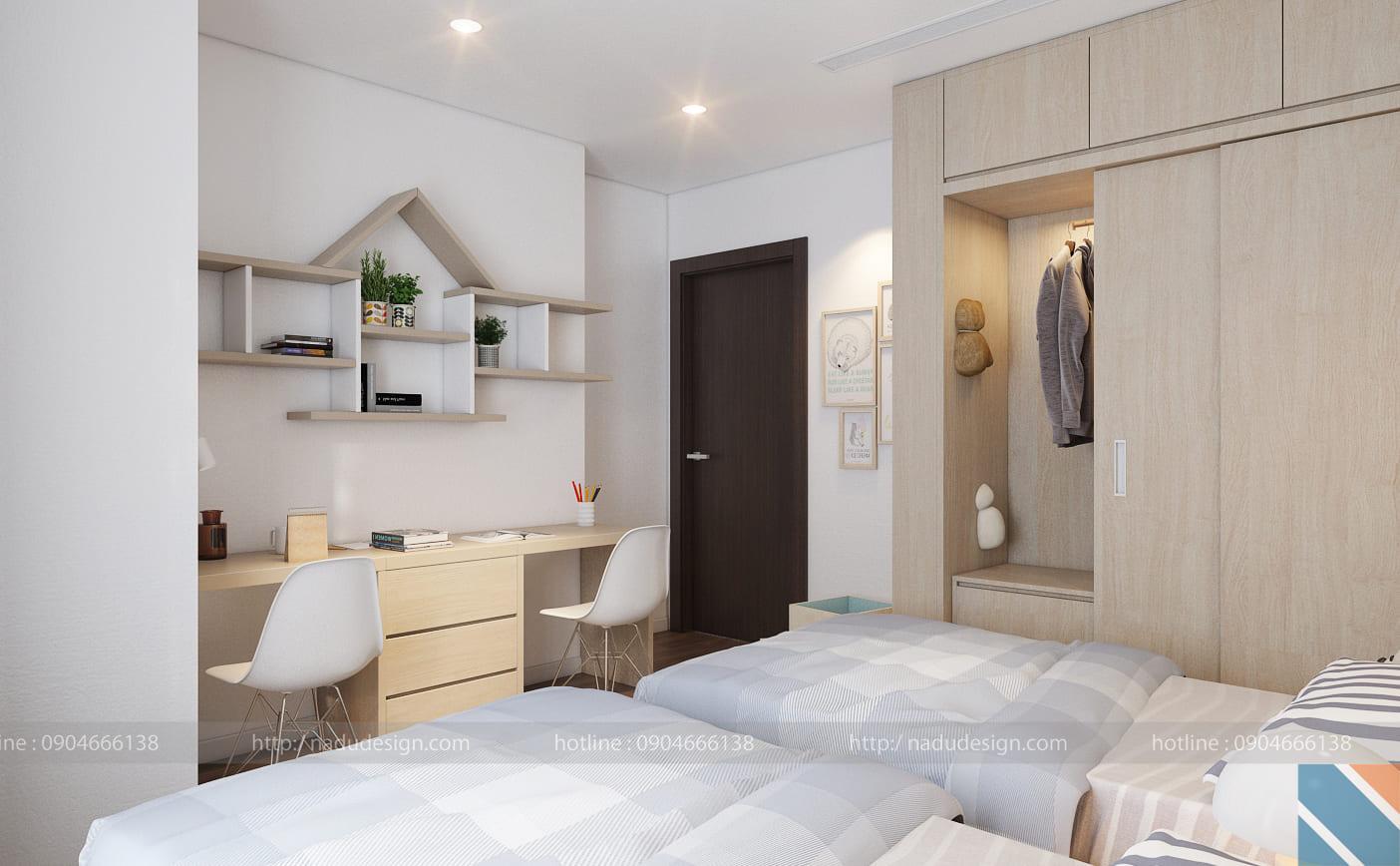 Mẫu thiết kế nội thất phòng ngủ 2 giường đẹp