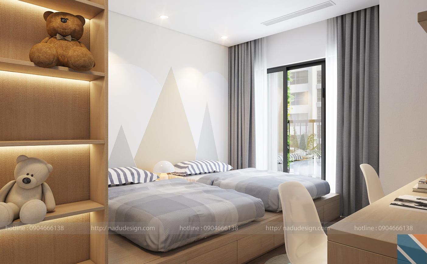 Mẫu thiết kế nội thất phòng ngủ 2 giường hiện đại