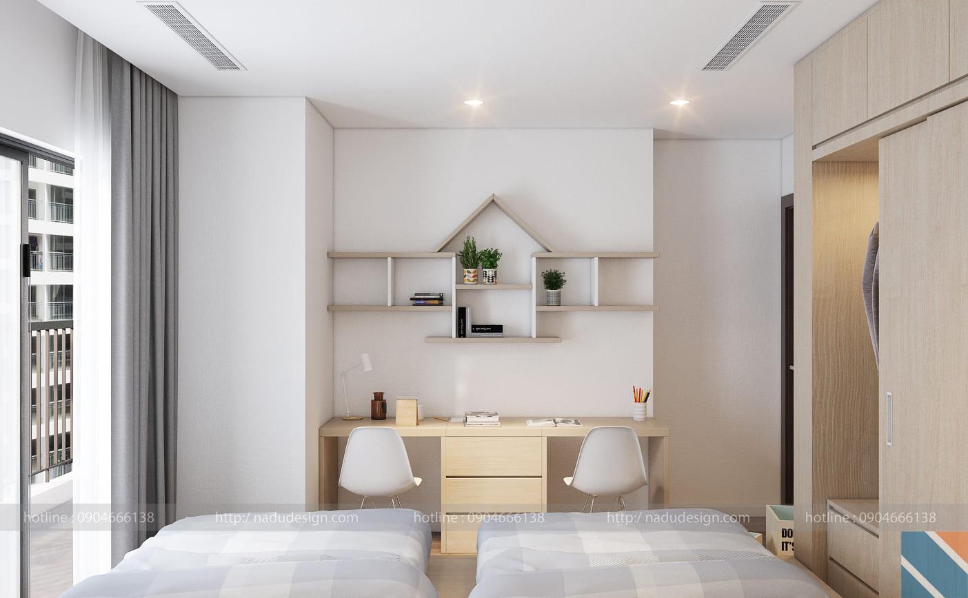 Mẫu thiết kế nội thất phòng ngủ 2 giường đẹp hiện đại