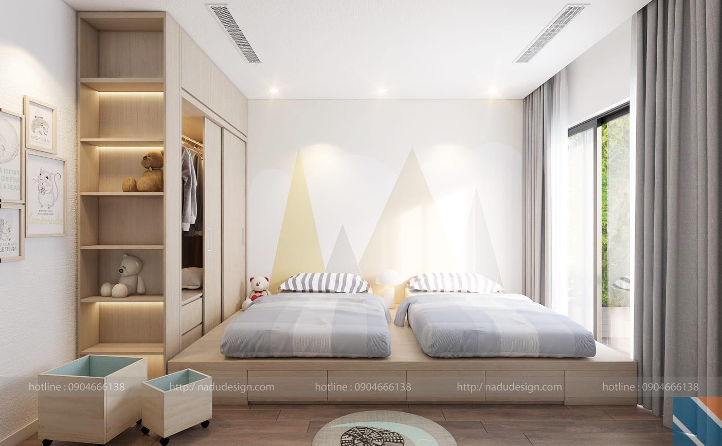 Mẫu thiết kế nội thất phòng ngủ 2 giường