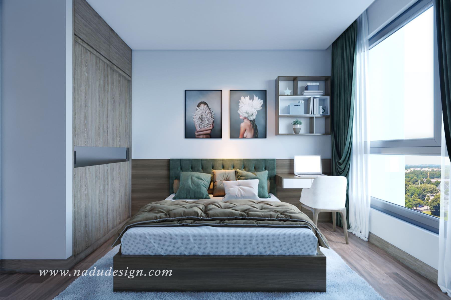 mẫu thiết kế phòng ngủ chung cư đẹp