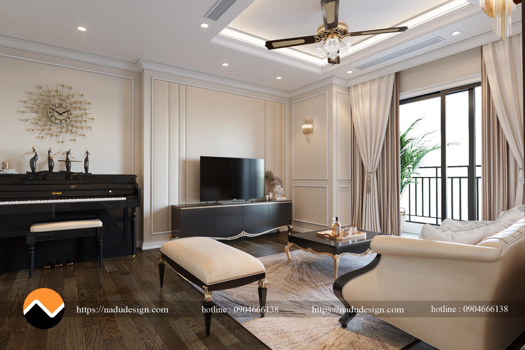 thiết kế nội thất phòng khách theo phong cách tân cổ điển