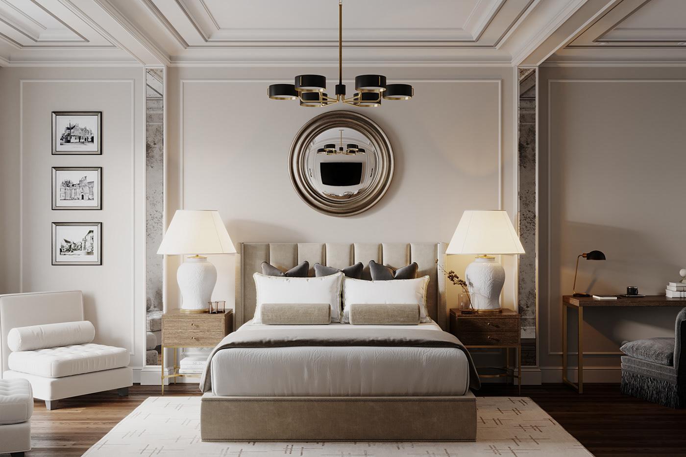 Mẫu thiết kế phòng ngủ master tân cổ điển.
