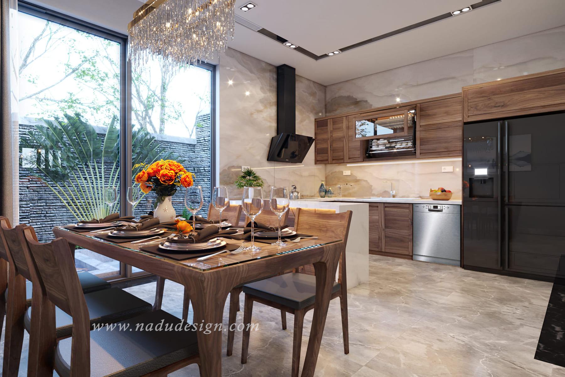 thiết kế nội thất biệt thự phòng bếp