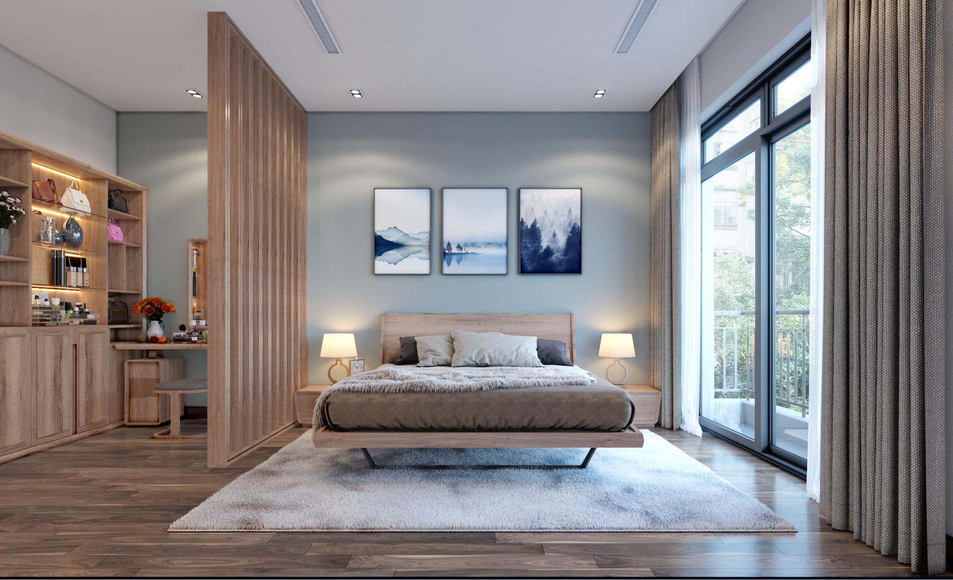 thiết kế nội thất biệt thự phòng ngủ đẹp hiện đại