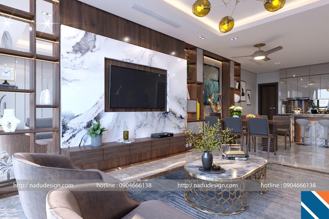 Nội thất sáng màu trong thiết kế nội thất chung cư 100m2