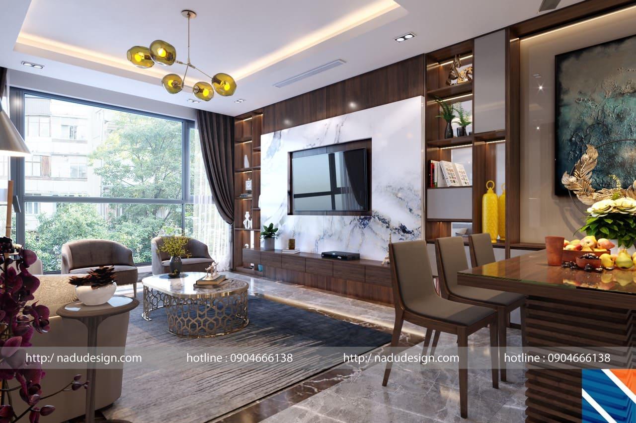 Thiết kế nội thất chung cư 100m2 phòng khách và bếp