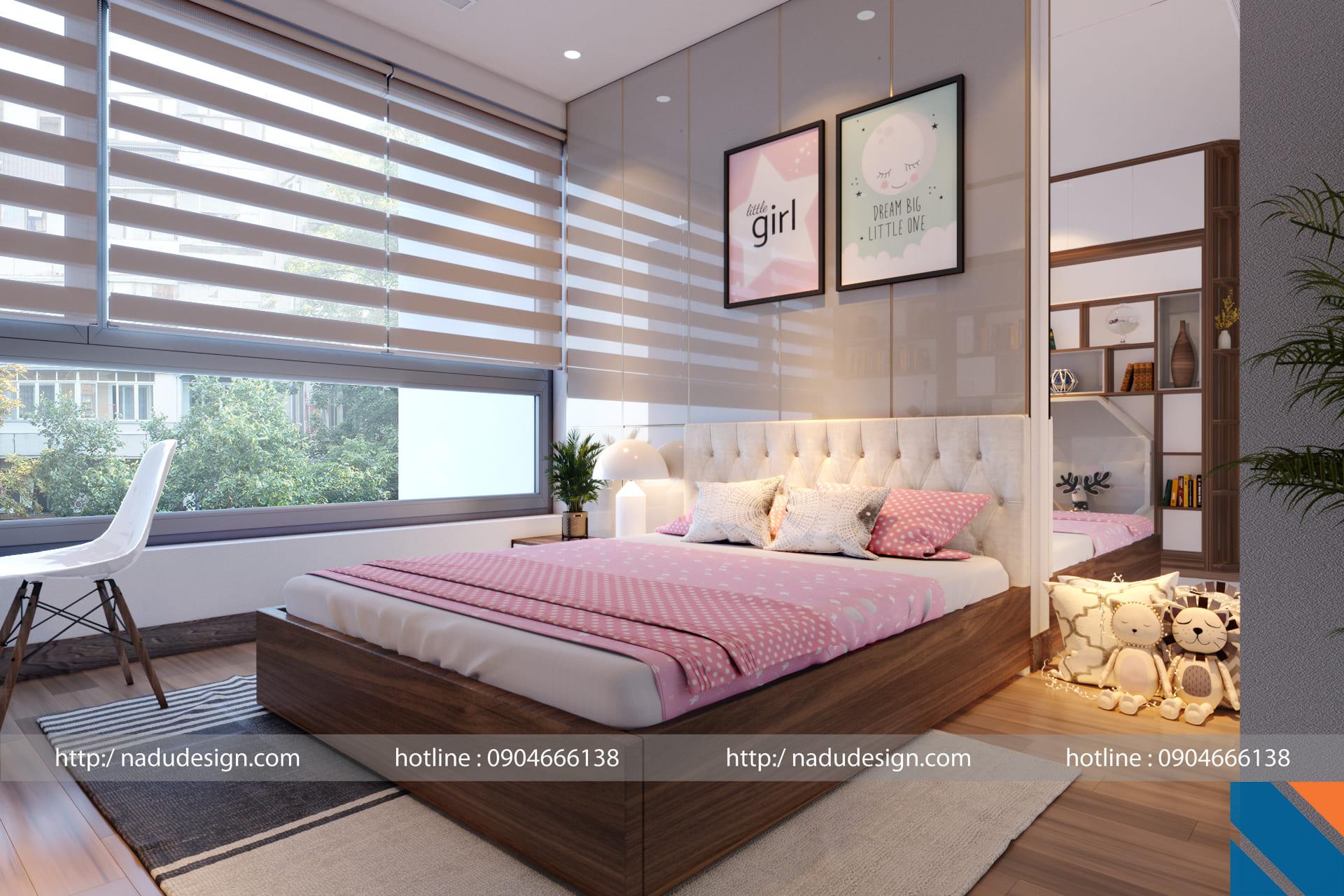 Thiết kế nội thất chung cư 100m2 phòng ngủ bé gái đẹp