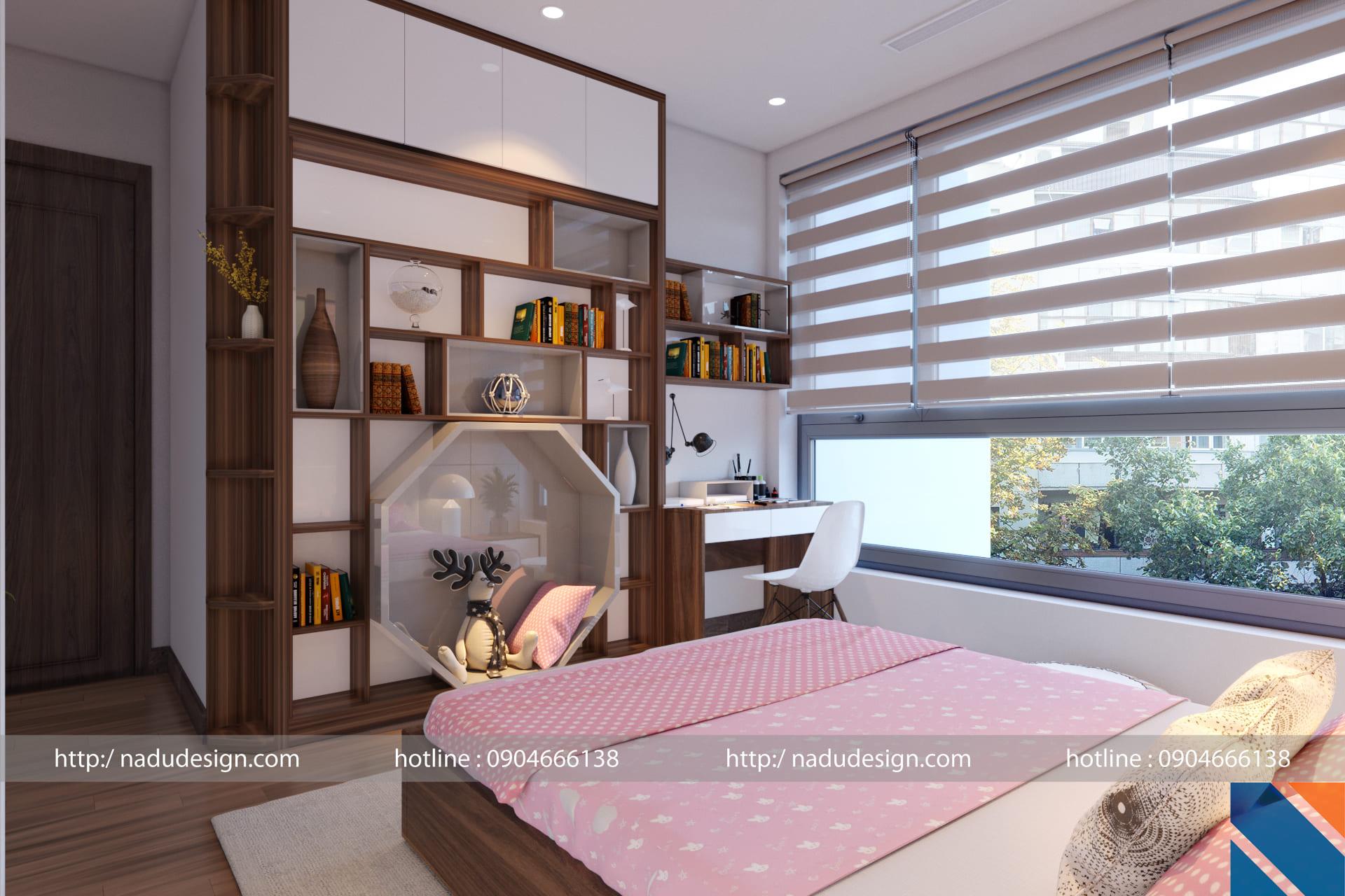 Thiết kế nội thất chung cư 100m2 phòng ngủ cho bé gái