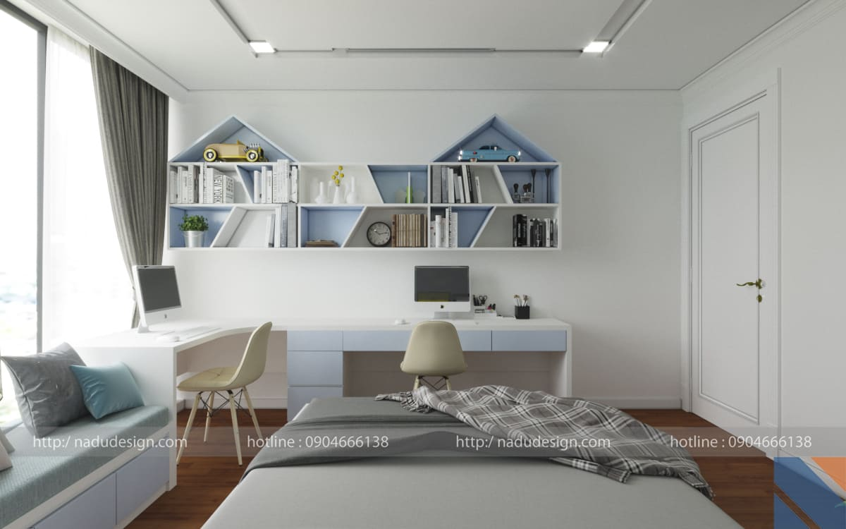 Thiết kế nội thất chung cư 100m2, phòng master tiện nghi và sang trọng