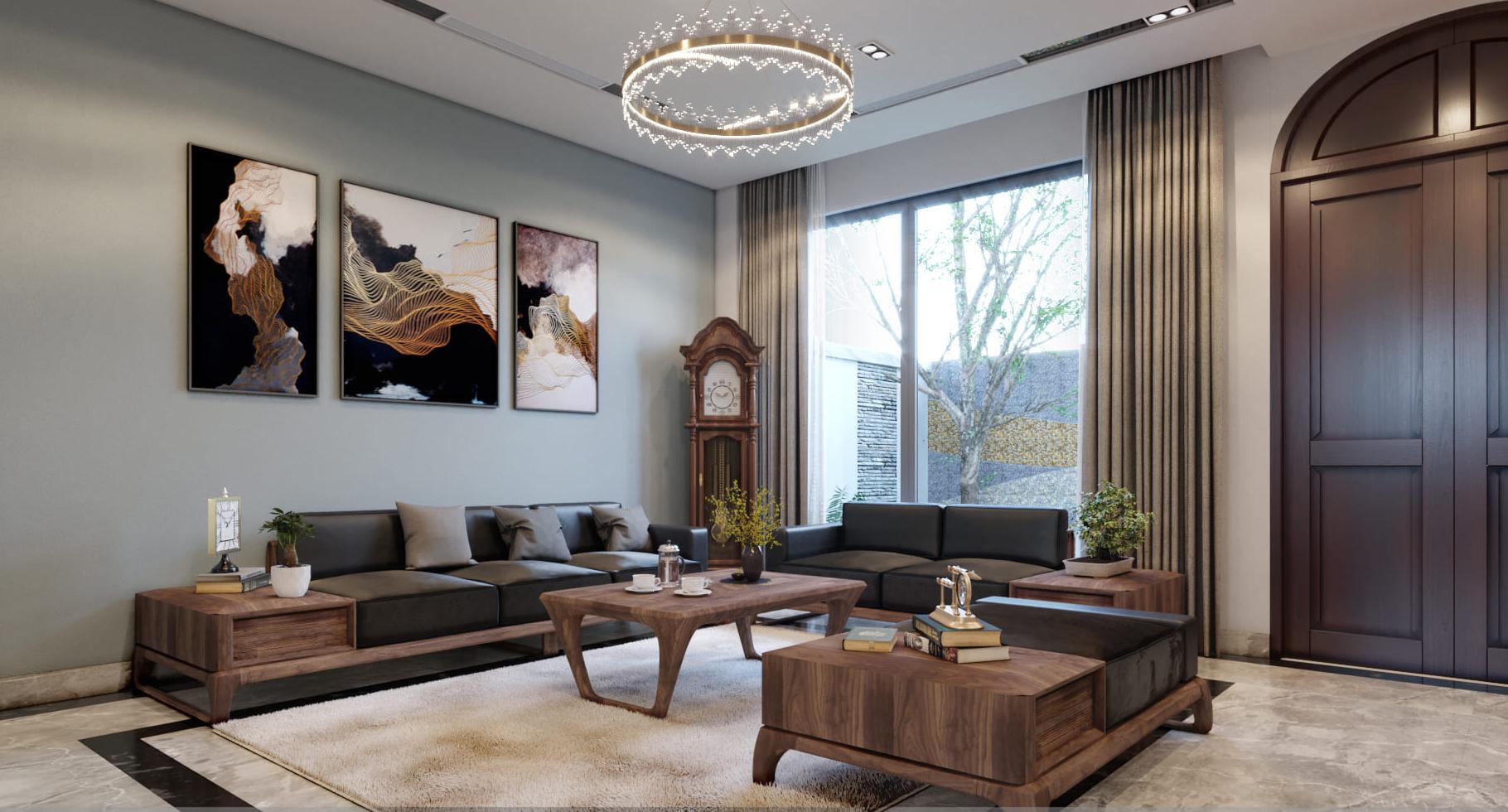 Thiết kế nội thất chung cư 3 phòng ngủ với vật liệu gỗ óc chó